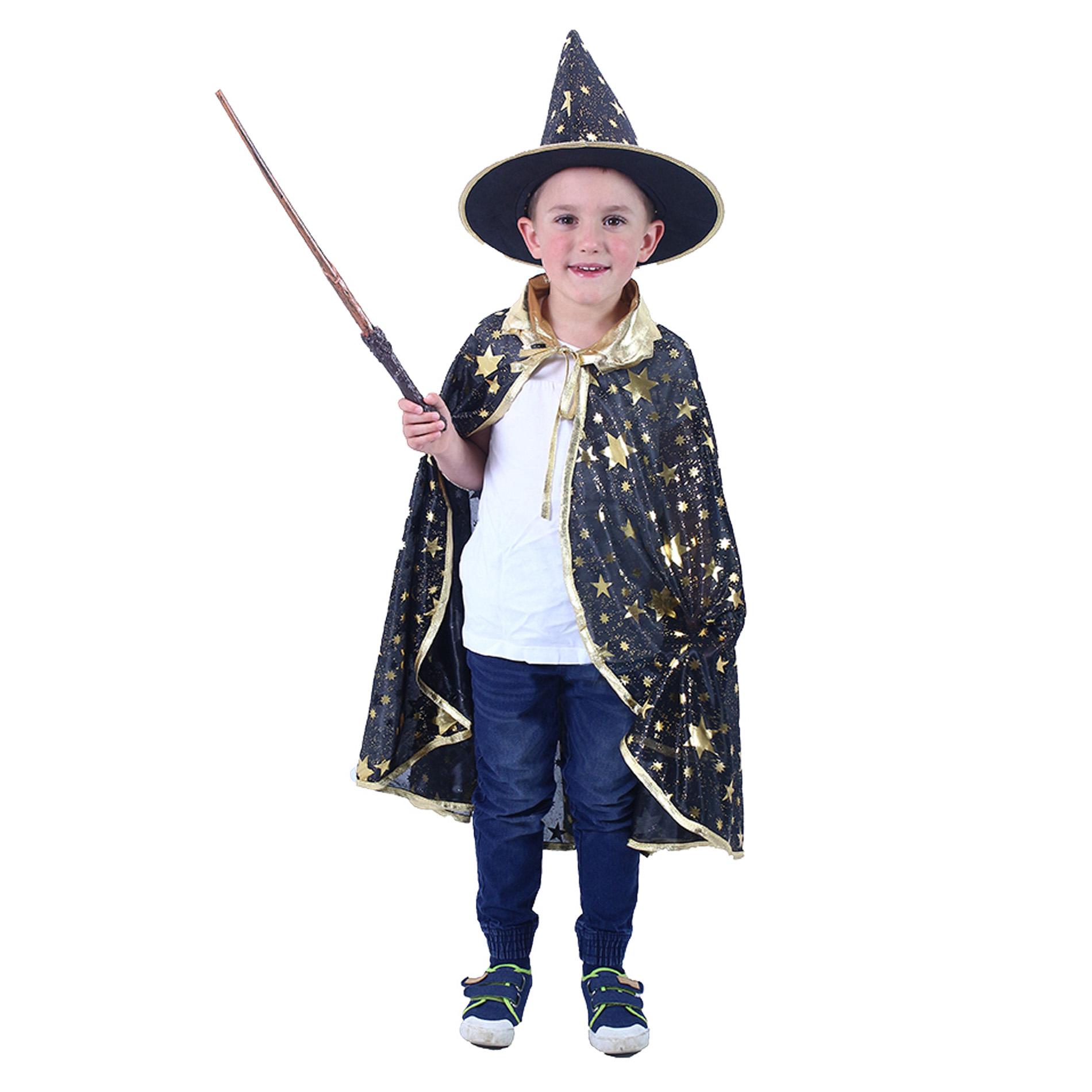Dětský plášť černý s kloboukem čarodějnice/Hallowe