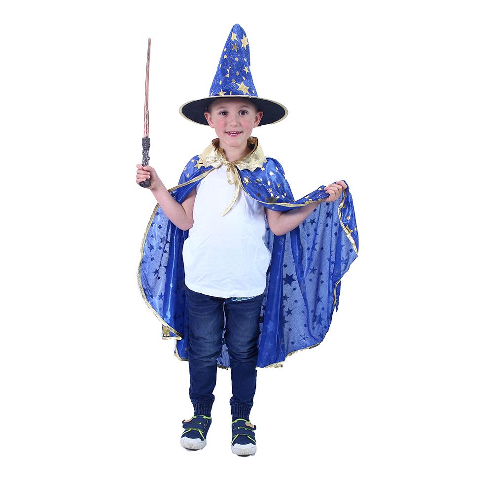 Dětský plášť modrý s kloboukem čarodějnice/Hallowe
