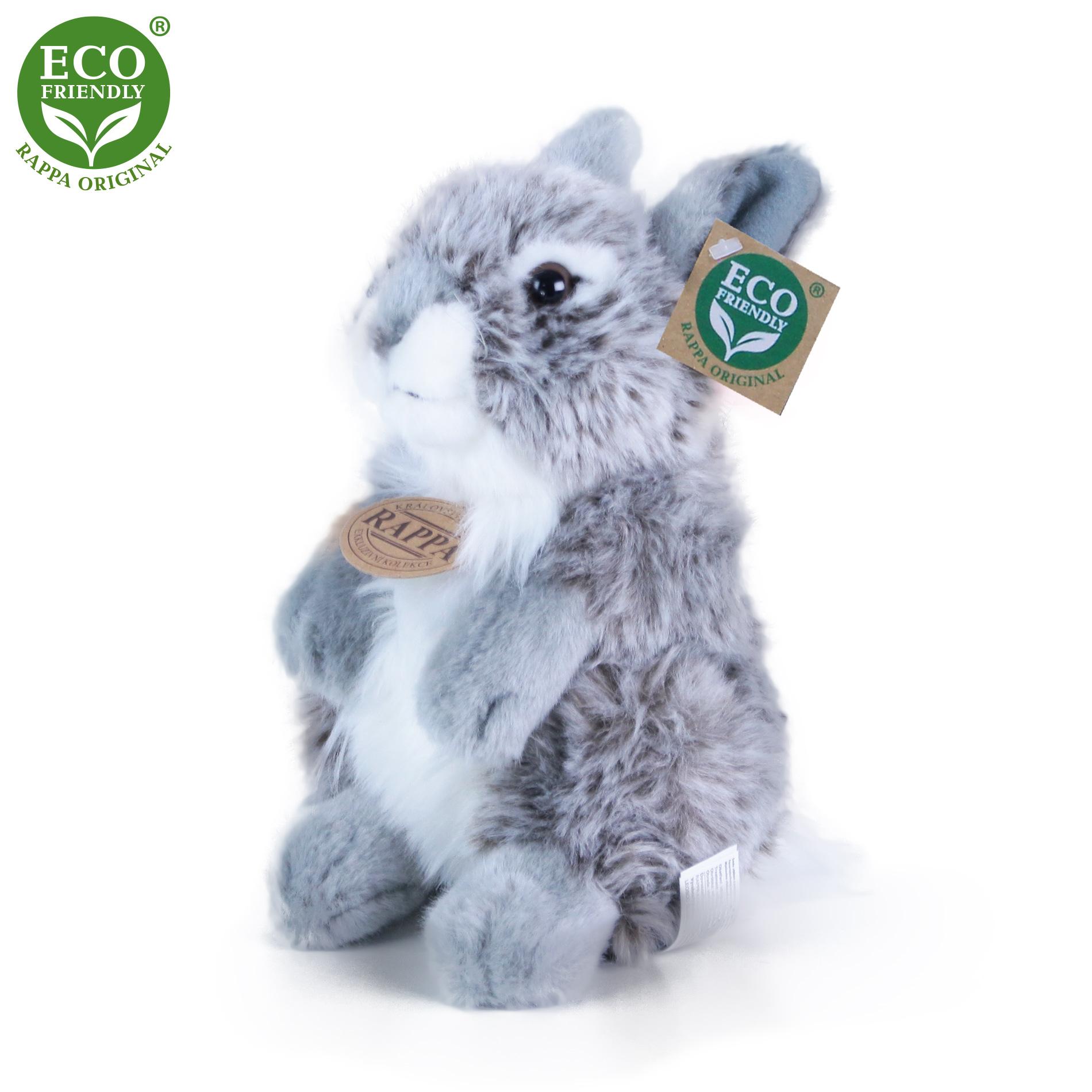 Plyšový zajíc šedý sedící 20 cm ECO-FRIENDLY