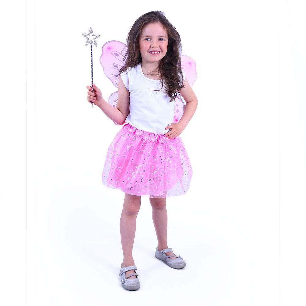 Dětský kostým tutu sukně růžová motýl s hůlkou a k