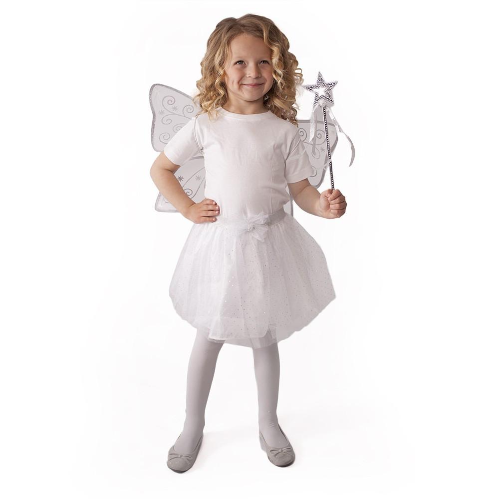 Dětský kostým tutu sukně bílá motýl s křídly a hůl