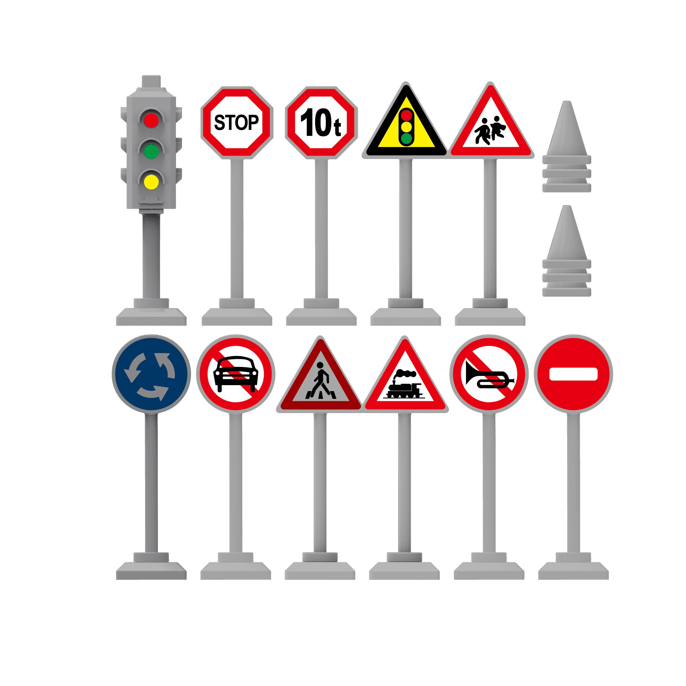 Značky a semafor na blistru