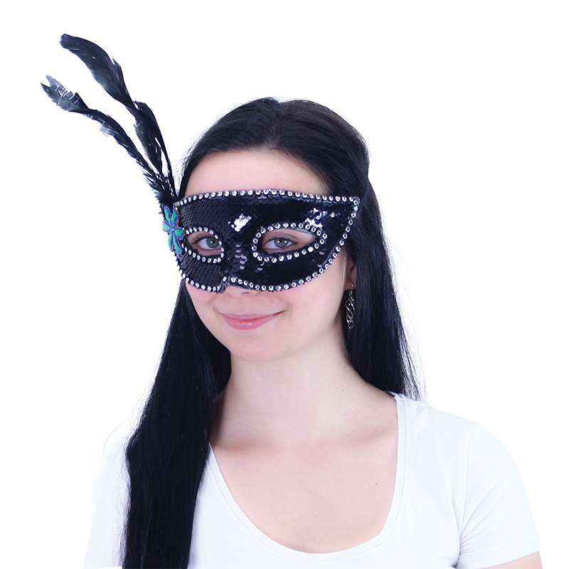 Maska plesová s peřím