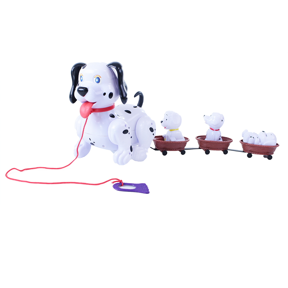 Pes chodící se štěňaty a vodítkem se zvukem