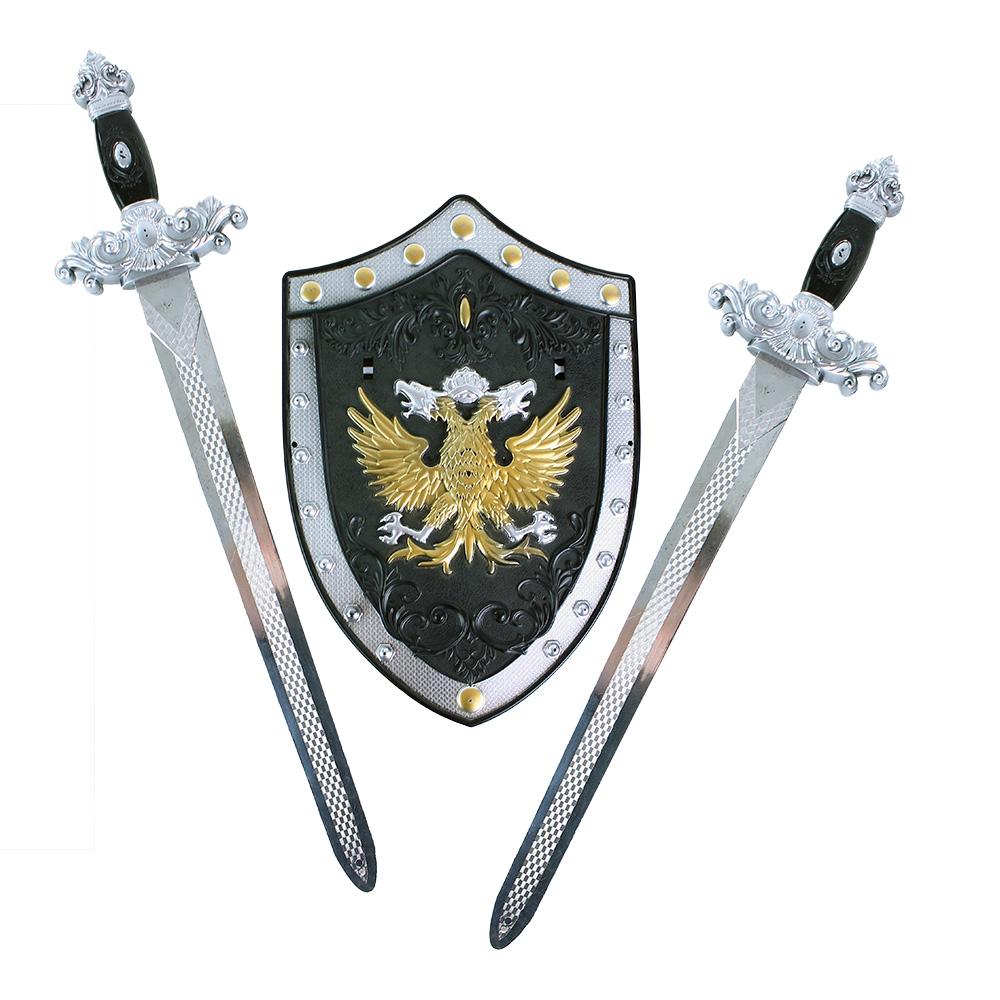 Sada rytířská s meči a štítem