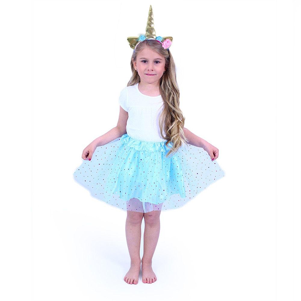 Dětský kostým tutu modrá sukně s čelenkou jednorož
