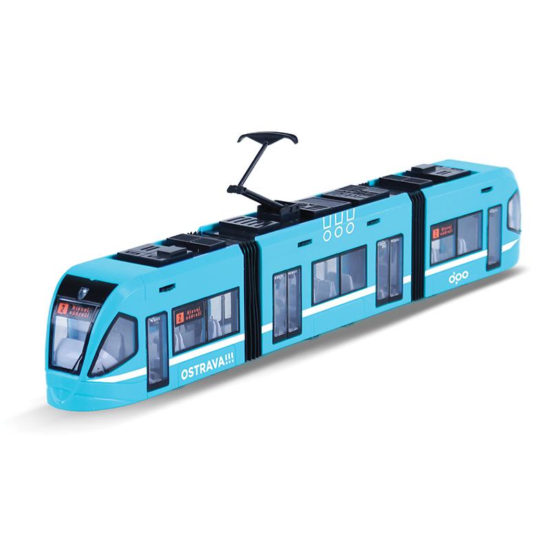 Moderní tramvaj DPO Ostrava modrá 47 cm