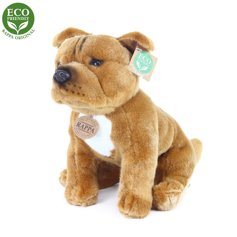 Plyšový pes stafordšírský bulteriér hnědý sedící 3