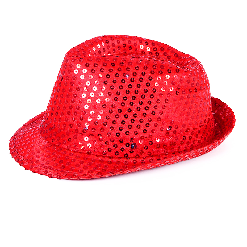 Klobouk disco červený s LED světlem pro dospělé