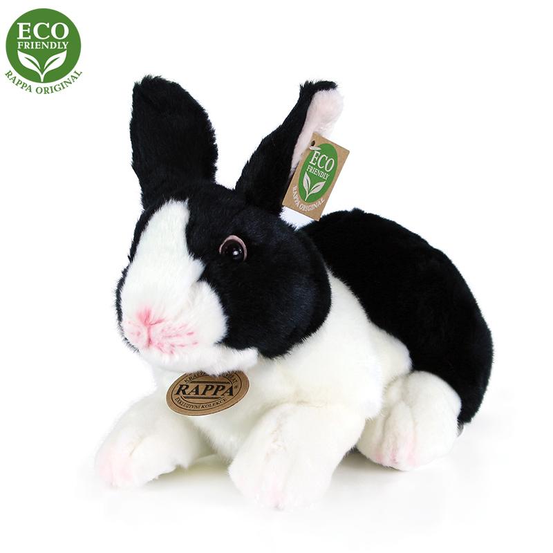 Plyšový králík bílo-černý ležící 24 cm ECO-FRIENDL