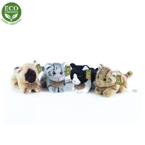 Plyšové kočky ležící se zvukem 15 cm ECO-FRIENDLY