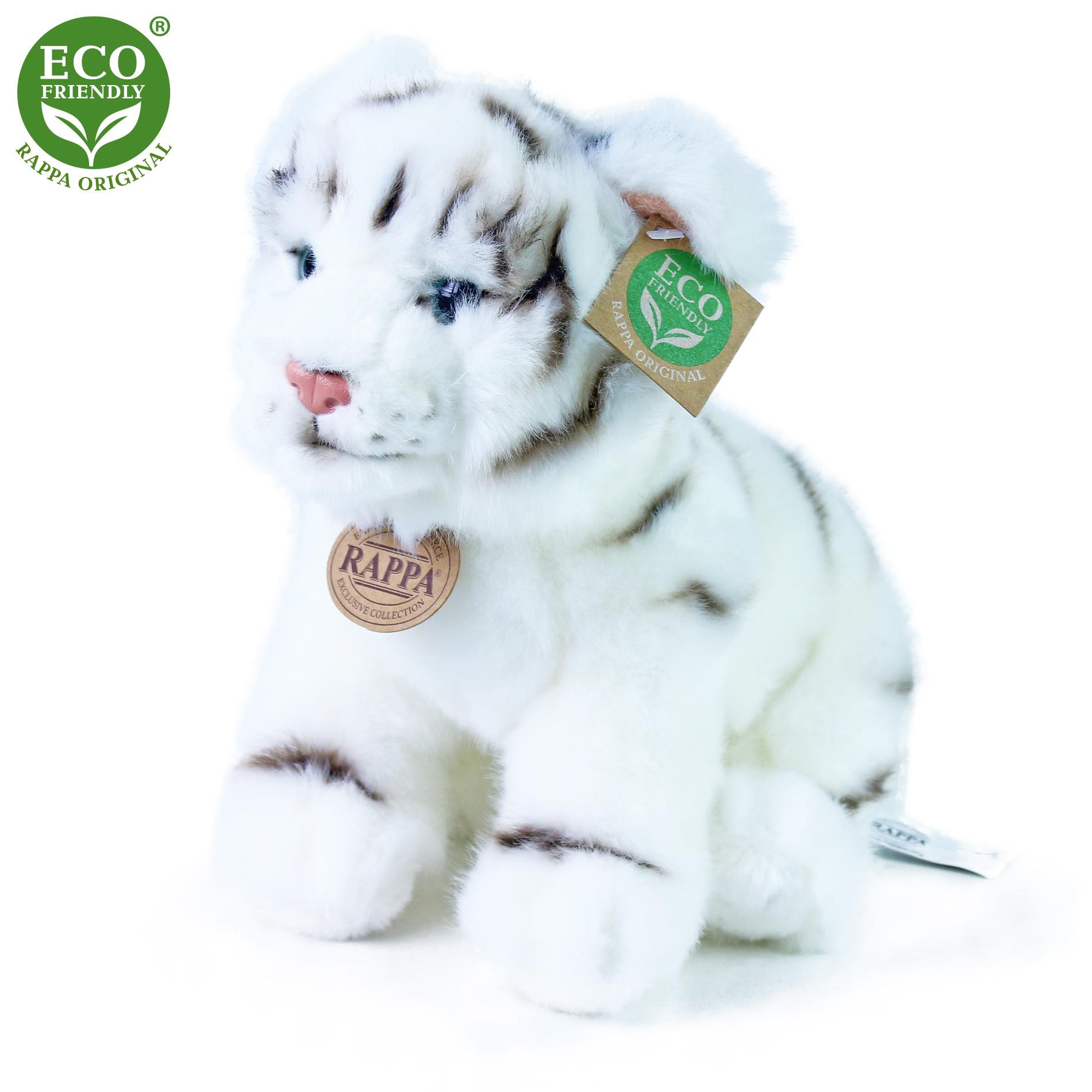 Plyšový tygr bílý sedící 25 cm ECO-FRIENDLY