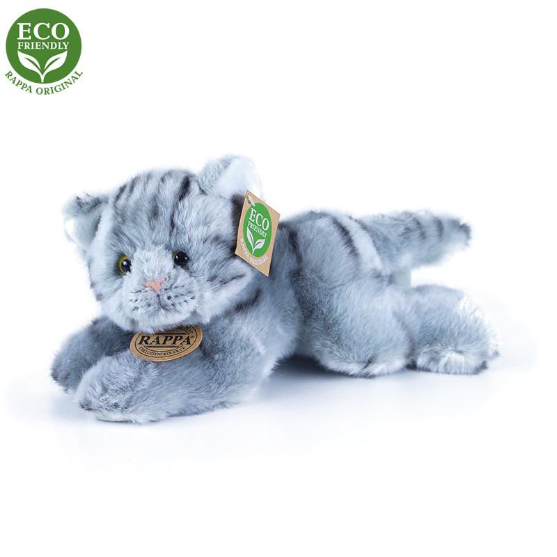 Plyšová kočka šedá ležící 30 cm ECO-FRIENDLY