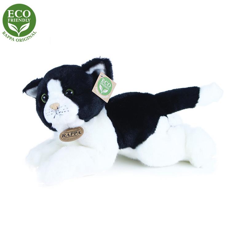 Plyšová kočka bílo-černá ležící 30 cm ECO-FRIENDLY
