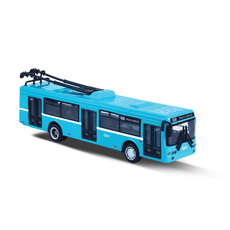 Kovový trolejbus DPO Ostrava modrý 16 cm