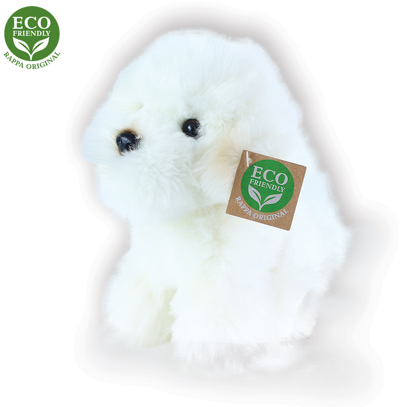 Plyšový pes bišon sedící 18 cm ECO-FRIENDLY