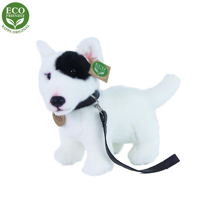 Plyšový pes anglický bulteriér s vodítkem stojící