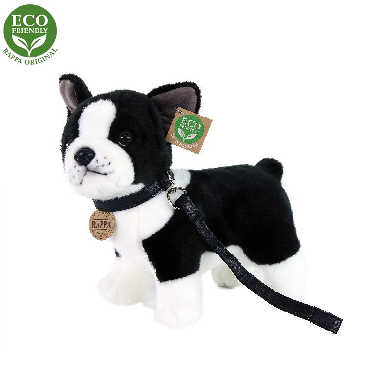 Plyšový pes francouzský buldoček s vodítkem stojíc
