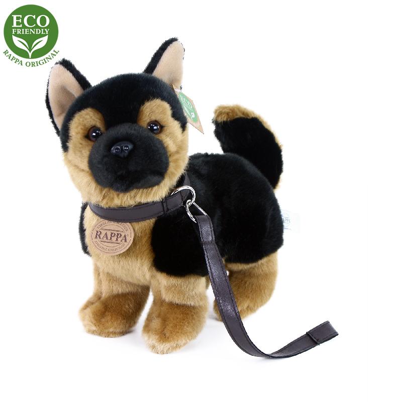 Plyšový pes německý ovčák s vodítkem  stojící 23 c
