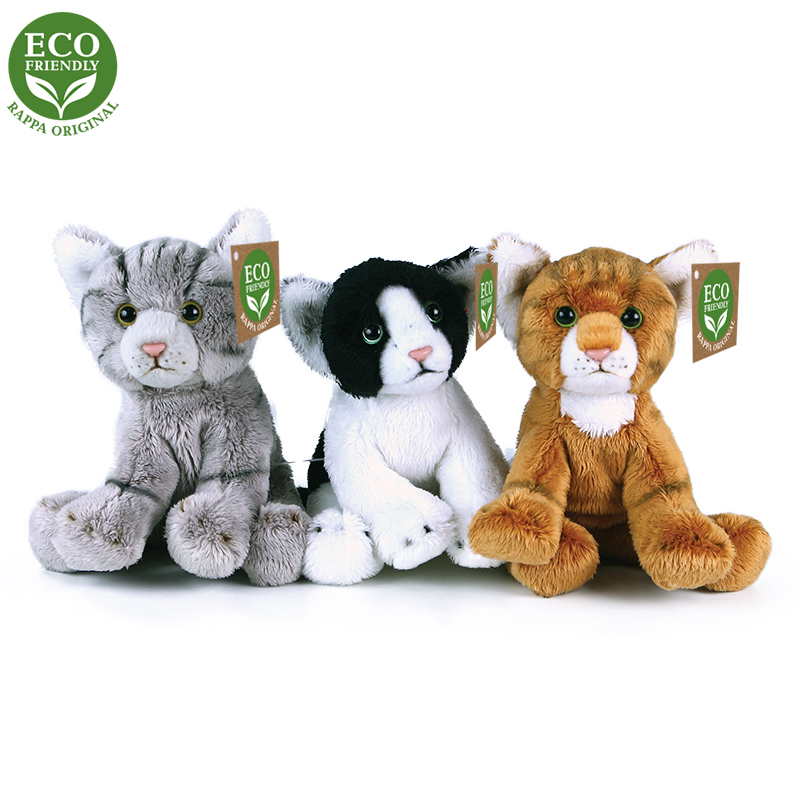 Plyšové kočky sedící 14 cm ECO-FRIENDLY