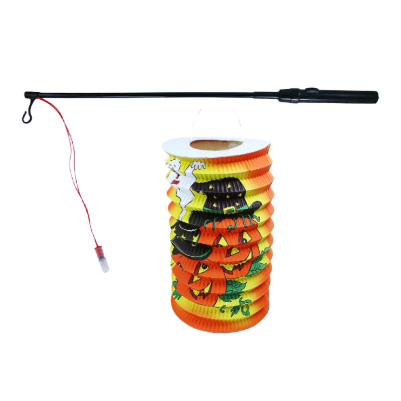 Lampion dýně Halloween 15 cm se svítící hůlkou 39