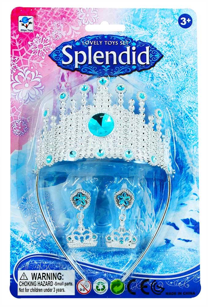 Korunka zimní království princezna s náušnicemi