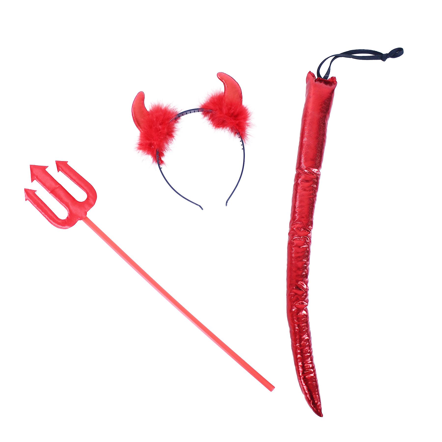 Čertovská sada s čelenkou hůlkou a ocasem