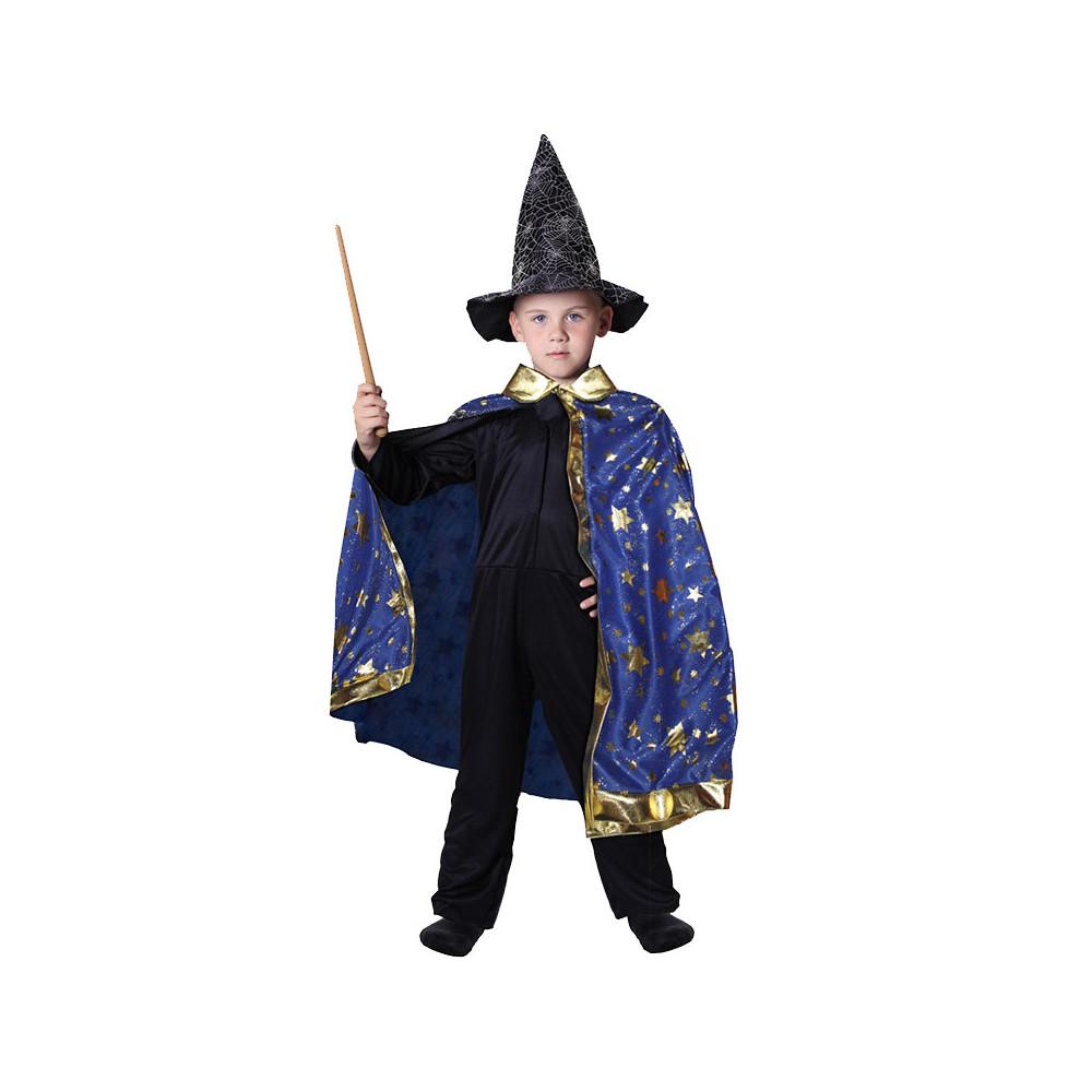 Dětský kouzelnický modrý plášť s hvězdami čarodějn
