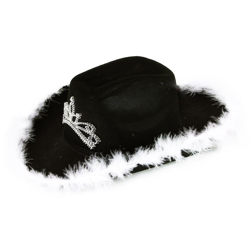 klobouk kovbojský černý s korunkou dámský