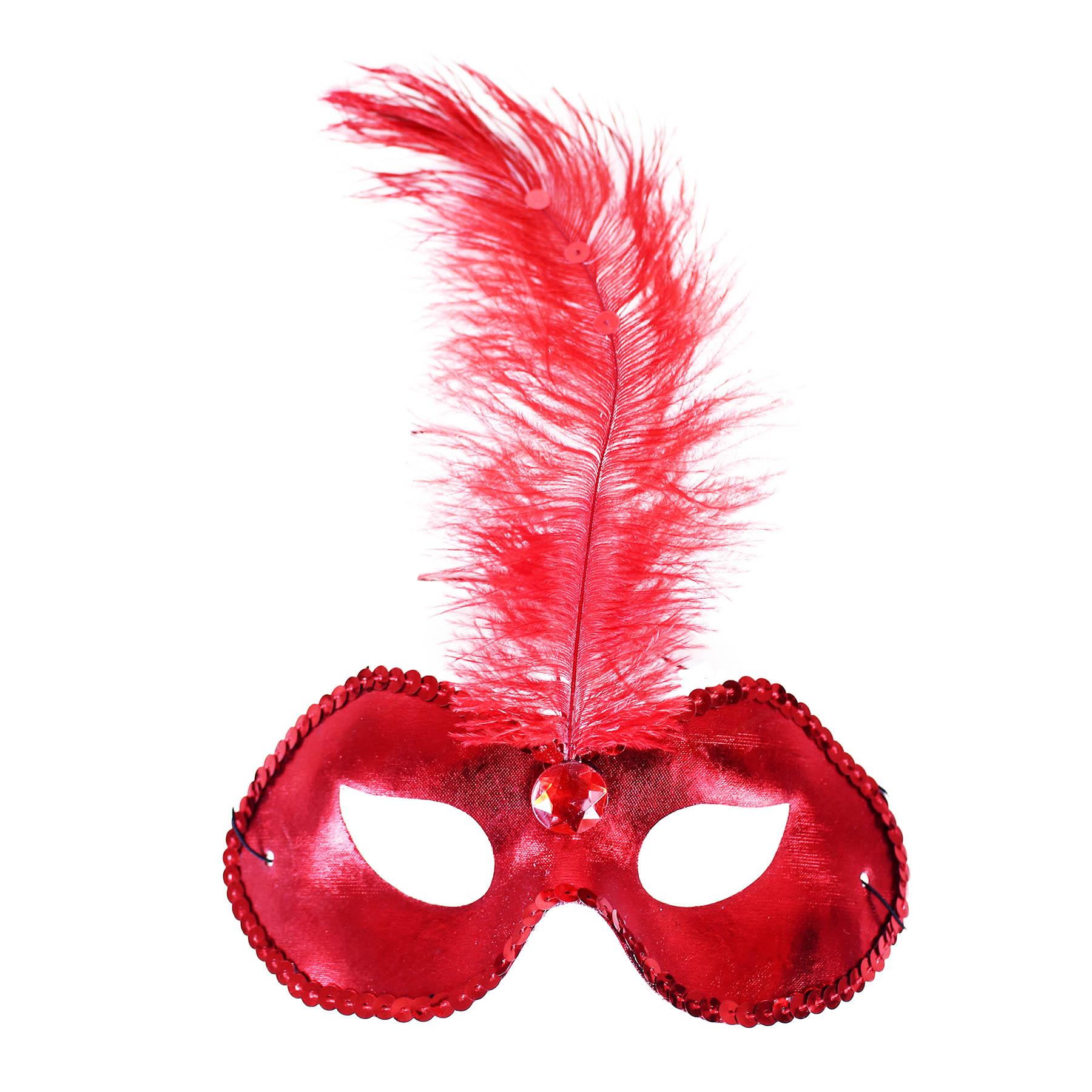Červená škraboška / maska s pírkem