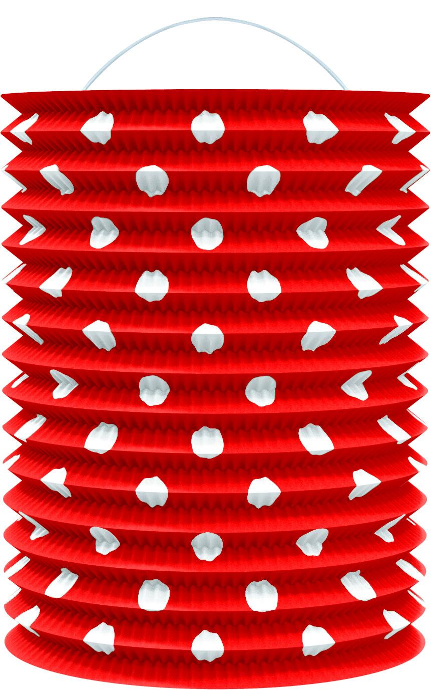 Lampion papírový červený s tečkami 23 cm