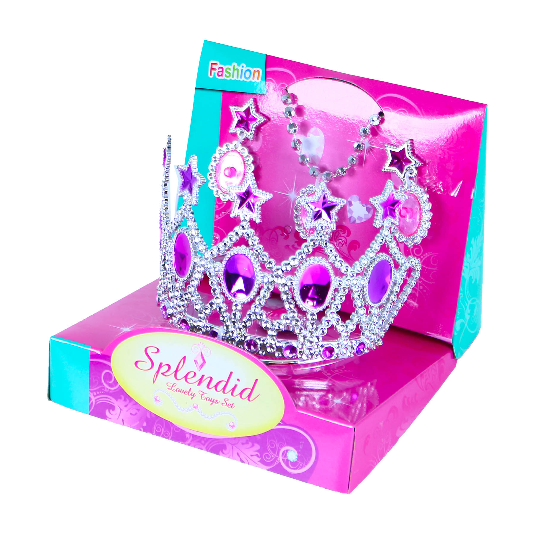 Korunka princezna s náušnicemi a náhrdelníkem růžo