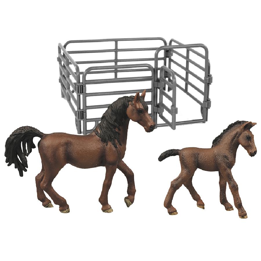 Sada koně 2 ks s ohradou čokoládově hnědý