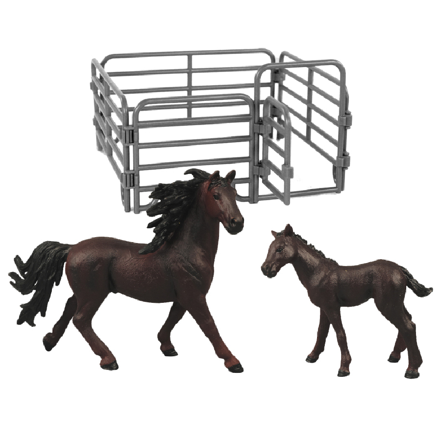 Sada koně 2 ks s ohradou tmavě hnědý s černou hřív