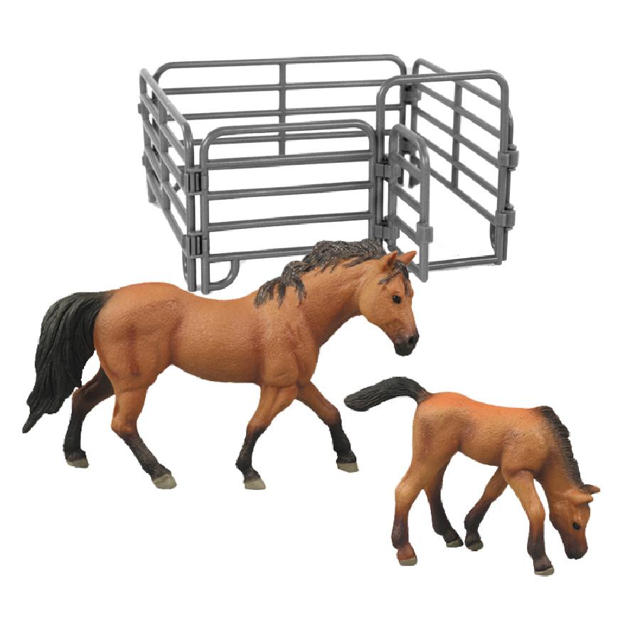 Sada koně 2 ks s ohradou hnědý s černou hřívou