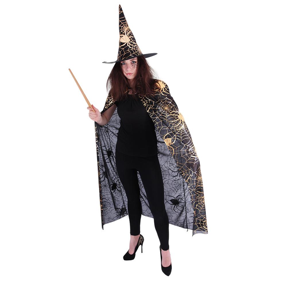 Čarodějnický plášť s kloboukem a pavučinou pro dos