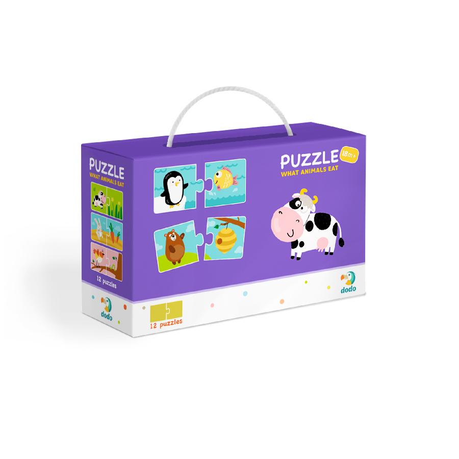 Puzzle Duo Co jedí zvířátka -12x2 dílků