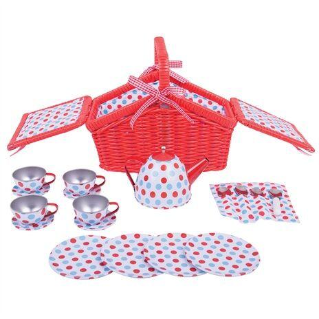 Bigjigs Toys Dřevěné hračky - Čajová sada v piknik