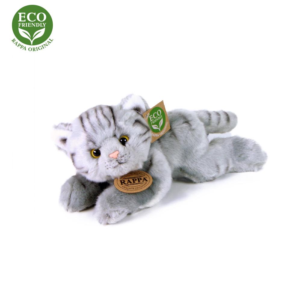 Plyšová kočka šedá ležící 16 cm ECO-FRIENDLY
