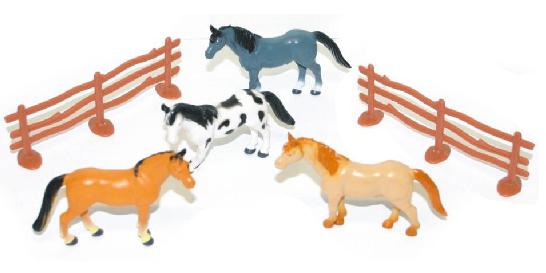 Koně s oHradou 4 ks v sáčku