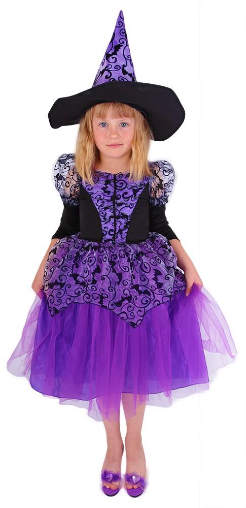 Dětský kostým čarodějnice fialová čarodějnice/Hall