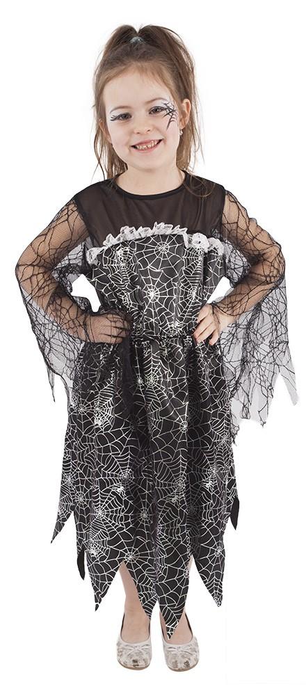 Dětský kostým čarodějnice s pavučinou čarodějnice