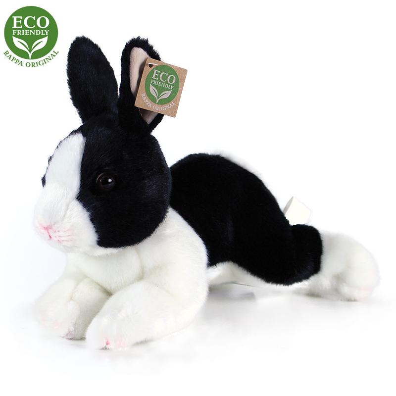 Plyšový králík bílo-černý ležící 23 cm ECO-FRIENDL