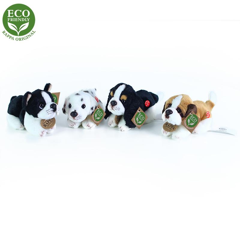 Plyšoví psi ležící se zvukem 4 druhy 15 cm ECO-FRI
