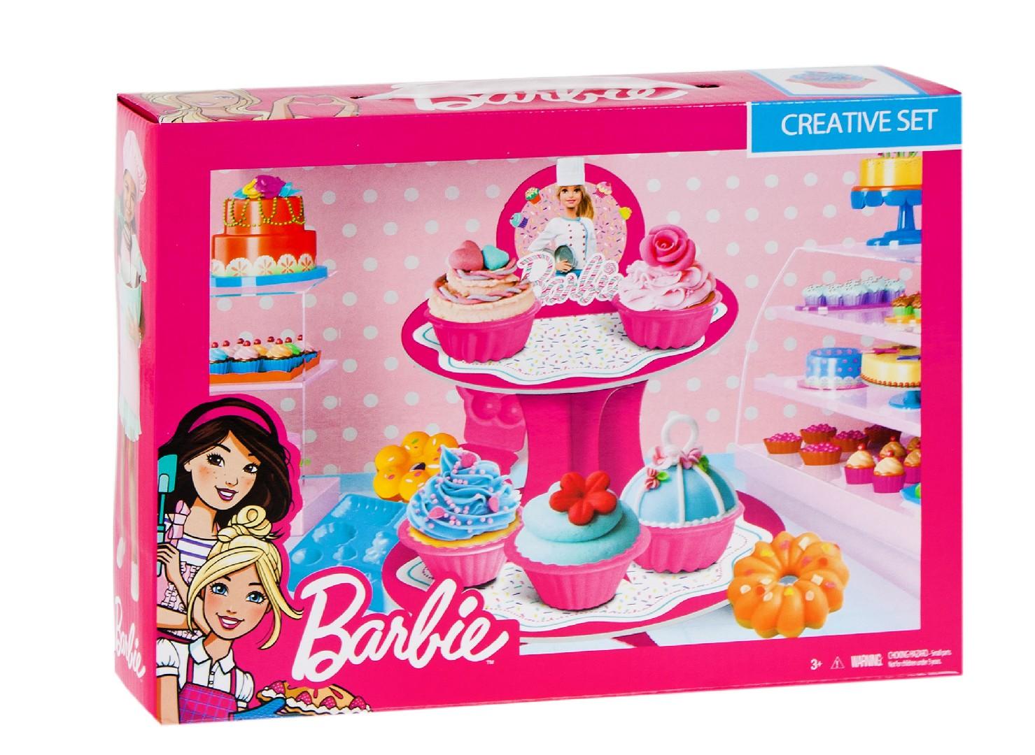 Barbie - barevná modelína - Dortíková sada
