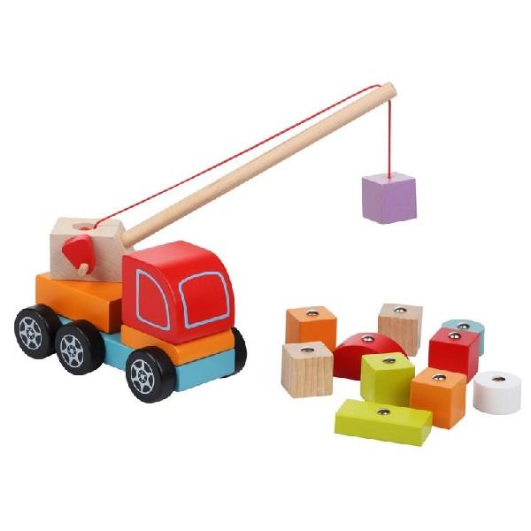 Autojeřáb s magnetem - dřevěná skládačka 14 dílů
