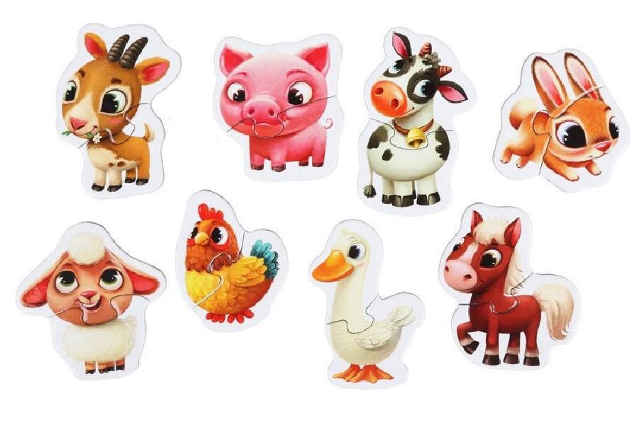 Domácí zvířátka - naučné puzzle 8 zvířátek - 16 dí