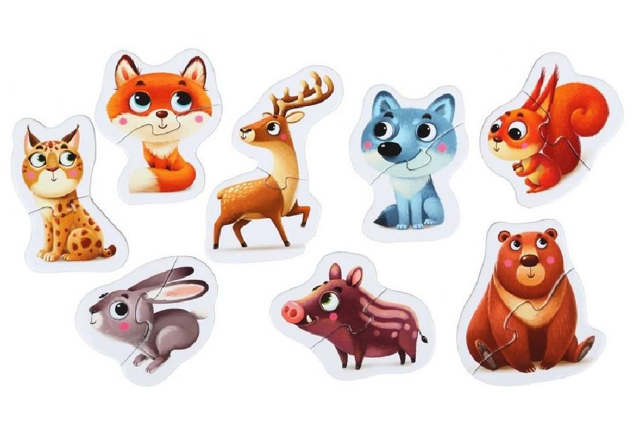 Lesní zvířátka - naučné puzzle 8 zvířátek - 16 díl