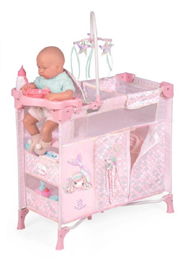 Skládací postýlka pro panenky s 5 funkčními doplňk