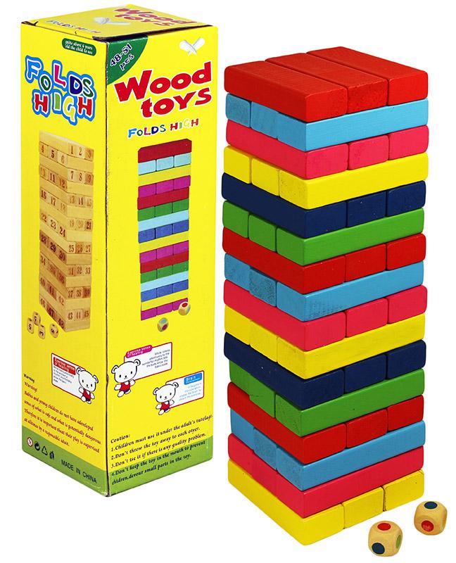 Dřevěná věž Jenga barevná